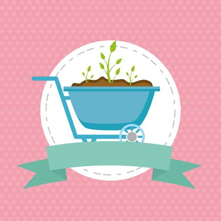 wheelbarrow plants decoration gardening flat design vector illustration