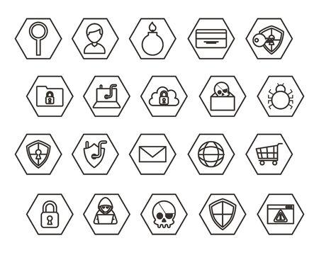 bundle of cyber security monochrome set icons vector illustration design