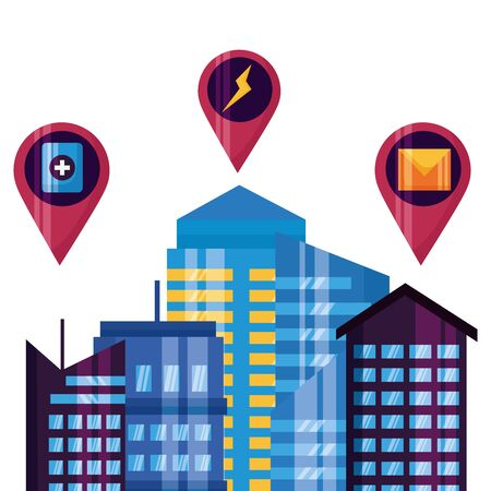 smart city urban town technology location navigation vector illustration