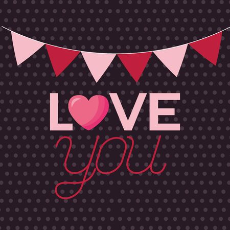Heart and banner pennant design, Love valentines day romance relationship passion and emotional theme Vector illustration