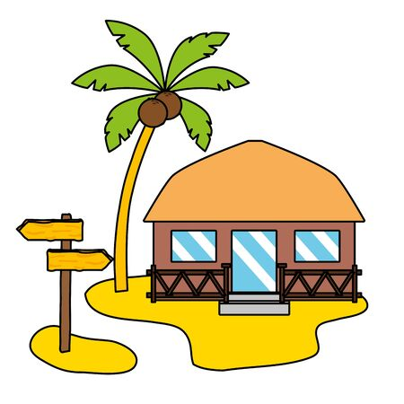 summer time holiday bungalow beach palm signal vector illustration Ilustração