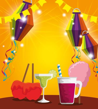 lanterns with sweet apples and cocktail to party vector illustration Иллюстрация