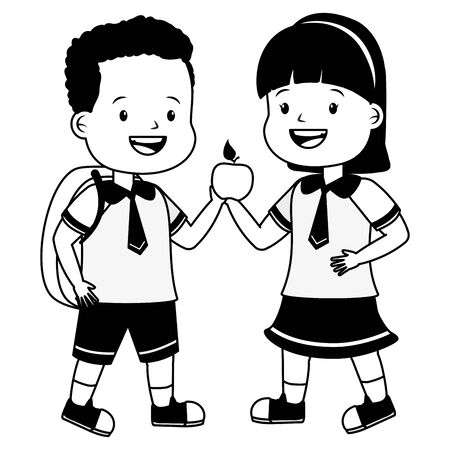 boy and girl student with apple backpack back to school vector illustration