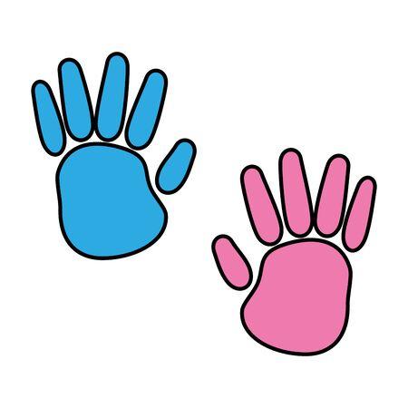 hands print colors paint icon vector illustration design Vetores
