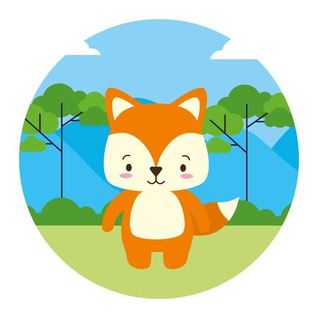cute fox animal landscape natural vector illustration 向量圖像