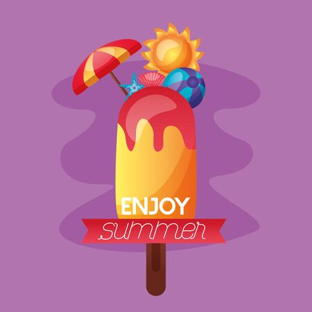 summer time holiday ball umbrella sun vector illustration
