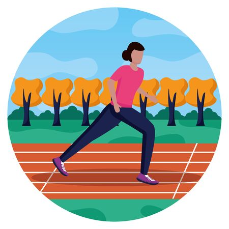woman training running track activity vector illustration Foto de archivo - 130206459