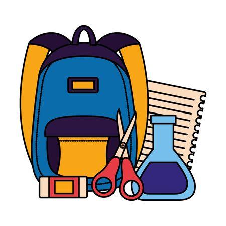 backpack chemistry flask scissors eraser paper back to school vector illustration