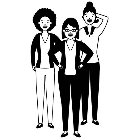 diversity women group three female vector illustration