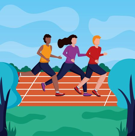 men and woman training running track activity vector illustration