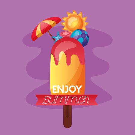 summer time holiday  ball umbrella sun vector illustration  イラスト・ベクター素材