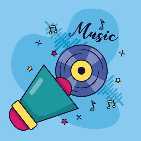 Mégaphone disque vinyle musique fond coloré vector illustration Vecteurs