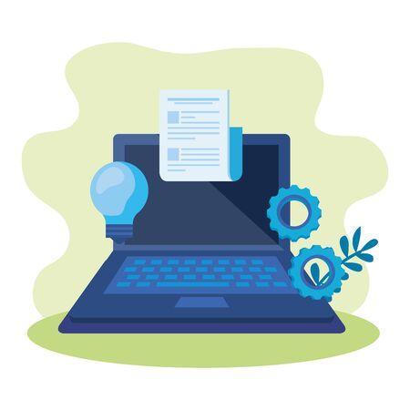 laptop computer with bulb light vector illustration design Ilustração