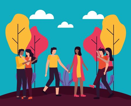 couples activities park outdoors flat designvector illustration