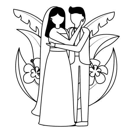 groom and bride flowers leaves wedding vector illustration Archivio Fotografico - 130206666