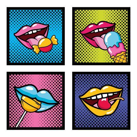 Establecer elementos de arte pop bocas caramelo lollipop helado cereza ilustración vectorial