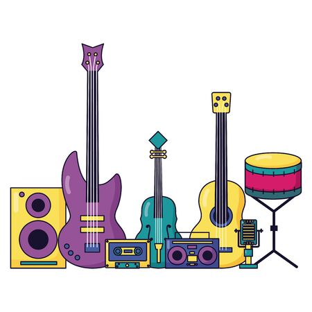 speaker guitar cassette boombox fiddle drum music colorful background vector illustration