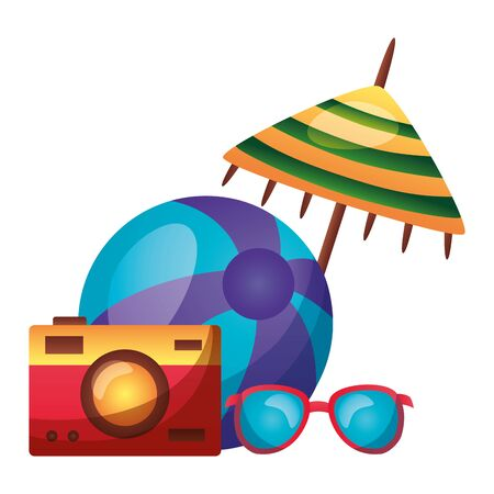 summer time holiday umbrella beachball camera sunglasses vector illustration