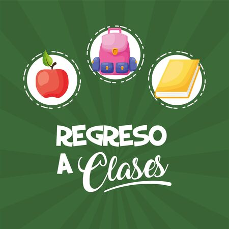 rucksack apple book stickers regreso a clases vector illustration