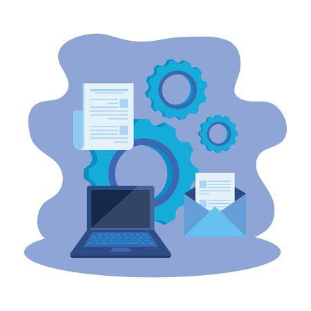 laptop computer with gears settings vector illustration design Illusztráció