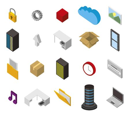 bundle of data center storage isometric set icons vector illustration design Foto de archivo - 130206847