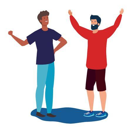 interracial young men friends celebrating characters vector illustration design
