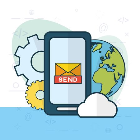 smartphone world setting cloud computing send email vector illustration