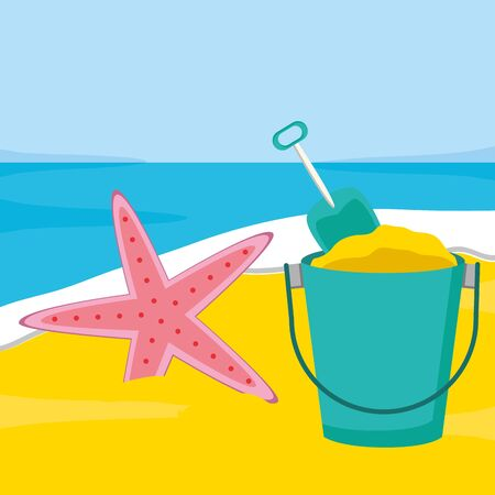 summer time holiday poster beach sand bucket starfish shovel vector illustration Stock Illustratie