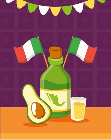 tequila bottle avocado celebration viva mexico vector illustration