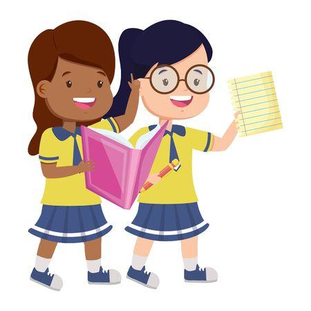 szczęśliwy uczeń dziewczyny z książką i arkuszem z powrotem do ilustracji wektorowych szkoły