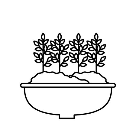 houseplant in pot natural icon vector illustration design 스톡 콘텐츠 - 130206919