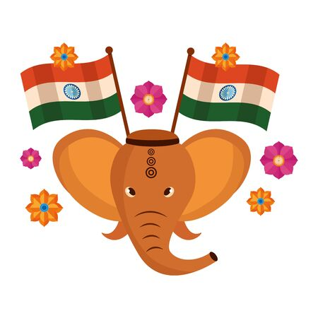 indian elephant ganesha with indian flags vector illustration design Banque d'images - 130206924