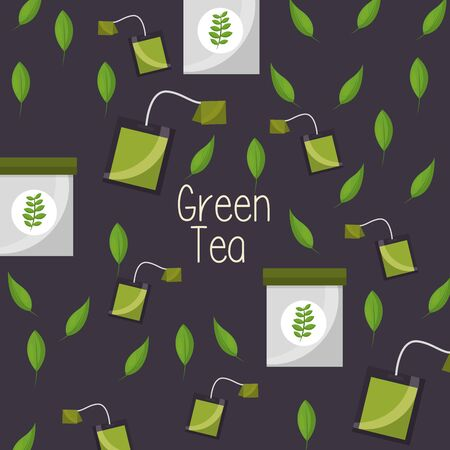 Green tea bag design, Drink breakfast beverage tradition kitchen and aromatic theme Vector illustration Banco de Imagens - 130207300