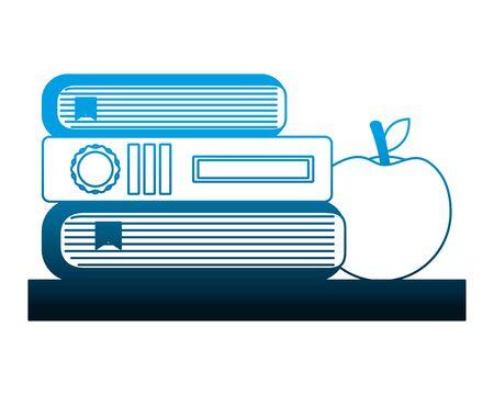 school stacked books literature knowledge vector illustration