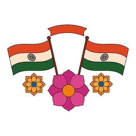 indian flags with lotus flower independence day vector illustration design Illusztráció