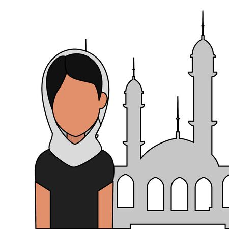 islamic woman with traditional burka and mosque building vector illustration design Banque d'images - 130207518