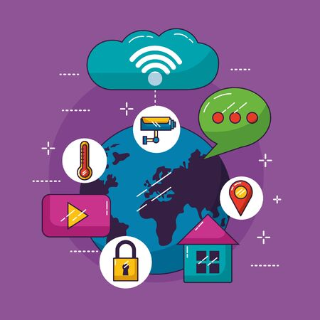 world cloud storage message smart house security wifi free connection vector illustration 向量圖像