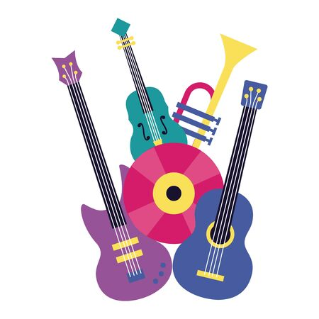 electric and classical guitar fiddle vinyl music vector illustration Ilustrace