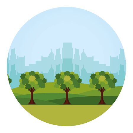 eco friendly city urban building forest trees vector illustration