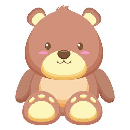 bear toy on white background vector illustration