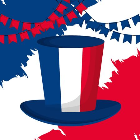 top hat french flag happy bastille day flat design vector illustration Foto de archivo - 130207604