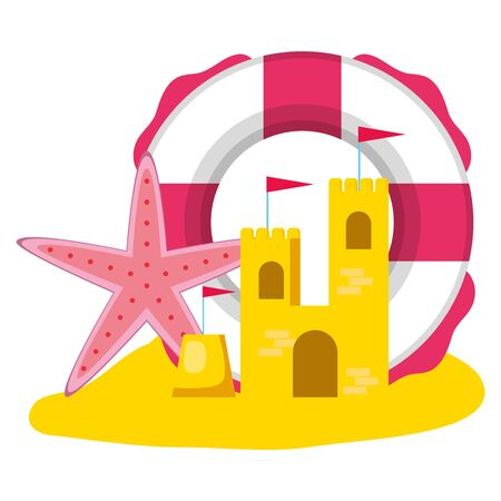 summer time holiday poster lifebuoy sand castle and starfish vector illustration