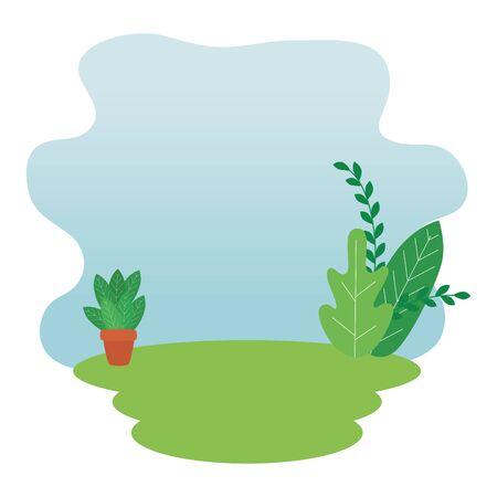 leafs garden with houseplant landscape scene vector illustration design  イラスト・ベクター素材
