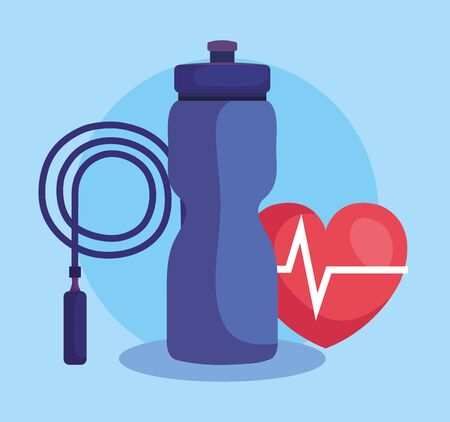 jumping bottle with water bottle and heartbeat over blue background, vector illustration