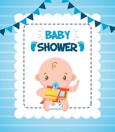 cute boy with train baby shower card vector illustration
