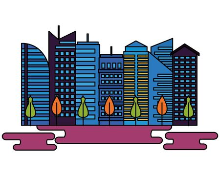 urban city downtown trees landscape vector illustration