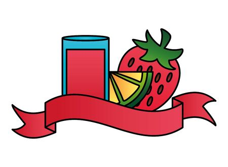 summer time holiday cocktail strawberry and lemon vector illustration