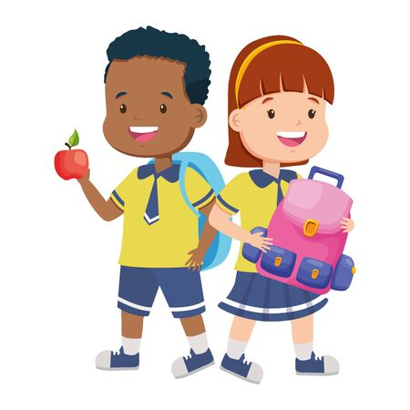 boy and girl student with apple and backpack back to school vector illustration