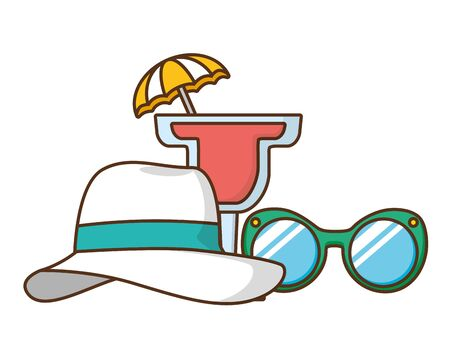 beach vacations sunglasses hat cocktail  vector illustration Ilustrace