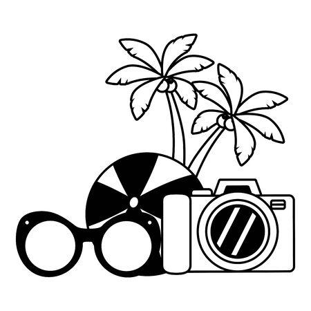 vacations ball sunglasses camera palms vector illustration Иллюстрация